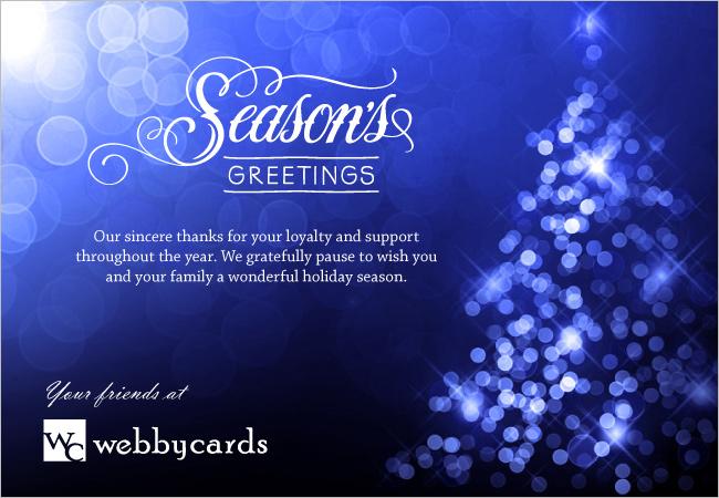 Seasons Greetings Blue Bokeh Lights Custom Holiday eCard Non-animated ...