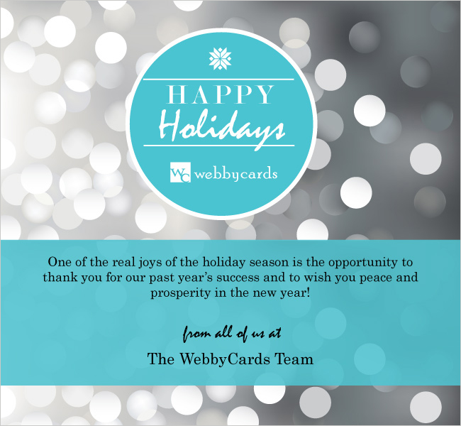Silver Holiday Bokeh Lights Corporate Custom Holiday eCard for email
